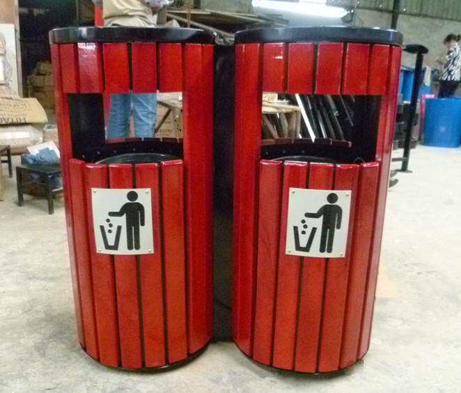 钢木分类废物箱
